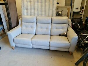 furniture village leather sofa 3 seater electric recliner excellent condition