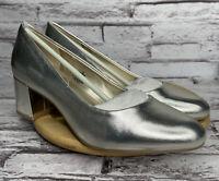 Bandolino Heels Size 7 Women's Doria Pumps Gold Faux Leather Block Heel Shoes