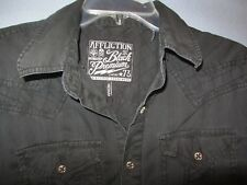 AFFLICTION Black button front LS shirt sz Medium sewn design/logos