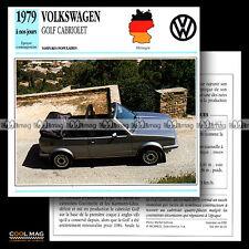 #046.16 VOLKSWAGEN VW GOLF CABRIOLET MK1 TYPE 1 RABBIT 1979 Fiche Auto Car card