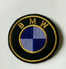 BMW Car Motorcycle- Gold Edge- Biker/ Racing Jacket Patch Iron on Sew On Badge