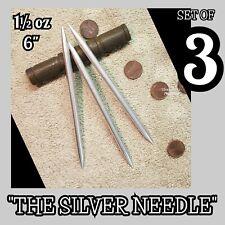 "(3) ""THE SILVER NEEDLE"" STEEL NINJA DOUBLE SPEAR TIP THROWING TORPEDO SPIKE SET"