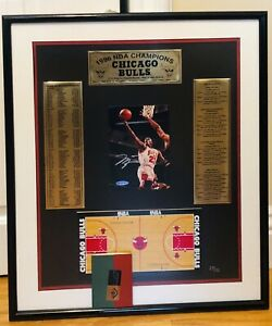 Michael Jordan Hand Signed Auto Upper Deck 5x7 Photo Framed Replica Floor UDA !