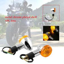 2Pcs Bullet Motorcycle Turn Signal Light Indicators Blinkers Amber Yellow 3000K