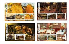 2017 VINCENT VAN GOGH ART PAINTINGS 8 SOUVENIR SHEETS MNH UNPERFORATED