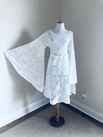 VTG White Crochet Lace Dress Bell Sleeve 70s Hippie Short MiDi Wedding DRESS