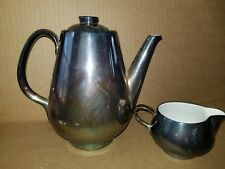 WMF Heinrich Silver Metal on Porcelain Coffee/Tea Pot Tea German Made 140L 025L