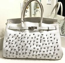 White Pebbled Leather Studded Spiked Tote Cary-all Handbag 40 CM Lady Gaga