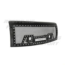 09-14 Ford F150 Rivet Black SS Mesh Grille+Black Shell+2x LED+1x LED Light Bar