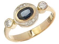 Ring Saphir Diamanten 585er Gelbgold