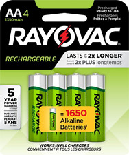Rayovac Rechargeable AA Batteries, Rechargeable Double A Batteries 4 Count