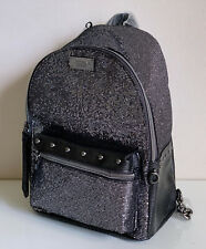 NEW! VICTORIA'S SECRET VS GUNMETAL GLITTER MESH SMALL CITY TRAVEL BACKPACK BAG