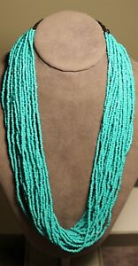 Vintage In Seattle Fabulous turquoise glass seed beaded Necklace Lot#690