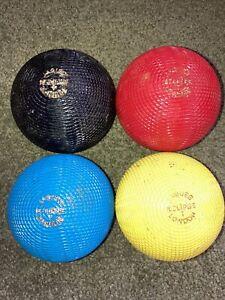 Rare Vintage Jaques Of London Eclipse Croquet Set Of Four 4 Balls HTF NICE!