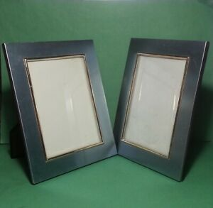 """Set of 2 Tabletop Stand Foto Frames 9x7"""" and 6.5x4.5"""" window Metal Gold Trim"""