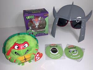TMNT Turtles Bundle Dorbz 406 Triceraton TY Beanie Raphael Shredder Sunglasses