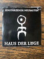 """Einsturzende Neubauten logo Sticker RARE 1990s black 3.5"""" square Haus Der Lüge"""