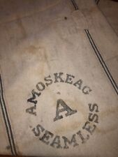 Vintage AMOSKEAG A Seamless Feed Seed Canvas Sack Farmhouse Primitive Patched