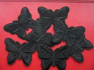 BLACK BUTTERFLY IRON ON BADGE SEW ON PATCH APPLIQUÉ FLOWER