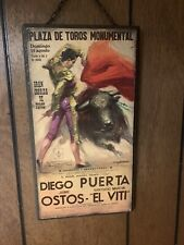 2 Vintage Plaza De Toros bullfight posters on wood With Small Chains For Hanging