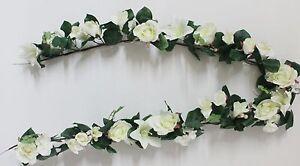 Rosengirlande 180 cm   Kunstblumen weiß künstliche Blumen Rosen Lilien