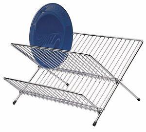 2 Tier Chrome Folding Dish Drainer Plate Dish Storage Rack Draining Board Small