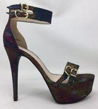 "Rainbow Mermaid Scales 5.5"" Stiletto High Heel 2"" Platform Sexy Shoes Sz 7"