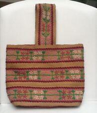 Vintage Burlap Embroidered Purse Bag Boho Flower Power 1970s Crewel Hippie Folk