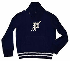 Polo Ralph Lauren Mens Letterman Pullover Rugby Shawl Sweater Navy White Large