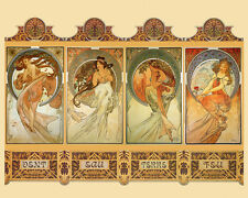 Alphonse Mucha Elements Wind Water Earth Fire 16X20 Vintage Poster Repo FREE S/H