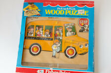 Vintage 515 Fisher Price School Bus Wooden Puzzle 13 piece retro complete BOX