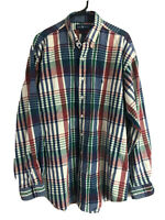 Ralph Lauren Cotton Flannel Button Down Shirt Mens XL Red Blue Plaid Long Sleeve