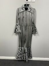 ex hire fancydress costumes - 1970s Flared Silver Jumpsuit - Size Large