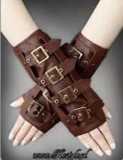Restyle Brown Faux Leather Steampunk Buckle Strap Arm Warmers Gloves Goth Pirate