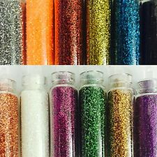 6 Pcs 3D Nail Art Set. Glitter Glass bottles Assorted Colours