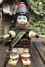 Ooak Steampunk Assemblage Art Doll Mixed Media Tobacco Tin Antique China Head