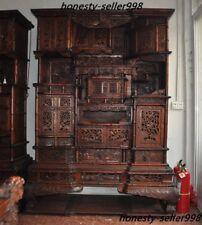Huge Noble Huanghuali Wood Hand-Carved Ancient furniture wardrobe cabinet drawer