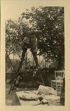 PHOTO ANCIENNE - VINTAGE SNAPSHOT - ENFANT JARDIN ÉCHELLE TABLE DRÔLE - LADDER