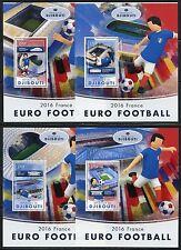 DJIBOUTI  2017 EURO FOOTBALL 2016 FRANCE  SET OF FOUR SOUVENIR SHEETS  MINT  NH