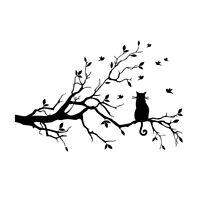 Schwarz Baum Katze Wandaufkleber Wandtattoo Wohnzimmer Schlafzimmer Sticker Deko