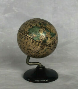 "Denoyer Geppert Globe Die Cast Metal Bank Miniature World Globe 3"" Dallas Texas"