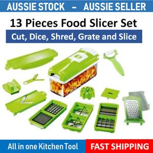 13PC Food Grater Slicer Chopper Shredder Salad Maker Vegetable Fruit Cutter Dice