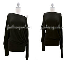 BLACK SWEATER LS LONG SLEEVE Knit Top Shirt Off the Shoulder Boat Neck Sexy 2XL