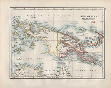 1909 VICTORIAN MAP ~ NEW GUINEA ~ BISMARCK ARCHIPELAGO SHOWING POSSESSIONS