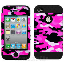 Pink Black White Camo Hybrid Impact Cover Case for Apple iPhone 4 4S Accessory