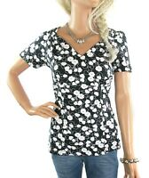 CLEARANCE RRP £17 NEW LADIES EX NEXT WHITE & BLACK FLORAL STRETCHY COTTON TOP