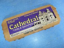 CATHEDRAL Wood Fruit Table Grape Paper Label Advertisement Crate Box End Panel