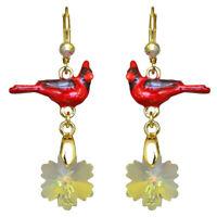 Kirks Folly Snowflake Cardinal Leverback Earrings (Goldtone)