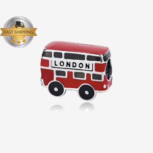 London Double UK Bus Charm For Bracelet, Sterling Silver Charm, US SELLER