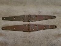 ANTIQUE MATCHING LOT OF 2 IRON BARN DOOR GATE STRAP HINGES PRIMITIVE RUSTIC